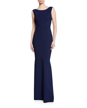 Chiara Boni La Petite Robe Boat-Neck Sleeveless Column Gown w  Bow-Back 3ed81851c9271