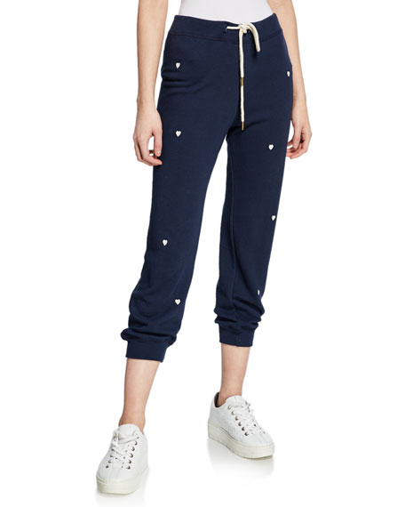 The Great Pants THE CROPPED SWEATPANTS WITH HEART EMBROIDERY