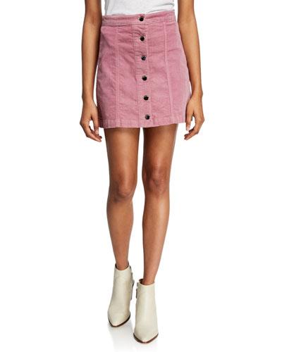 Rosie Button-Front Corduroy Skirt