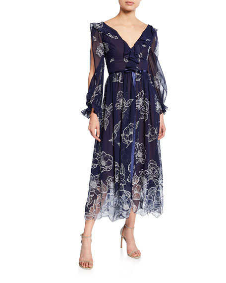 Marchesa Notte Dresses FLORAL EMBROIDERED LONG-SLEEVE TULLE & CHIFFON DRESS W/ RUFFLE TRIM