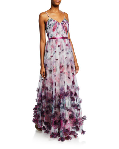 Floral-Print Sweetheart Spaghetti-Strap Tulle Gown w/ 3D Chiffon Flowers