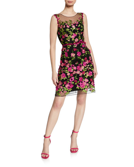 Marchesa Notte Dresses EMBROIDERED SLEEVELESS CUTOUT DRESS WITH 3D FLOWERS