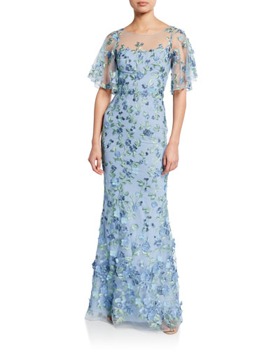 Sweetheart Illusion Flutter-Sleeve Embroidered Tulle Gown w/ 3D Flowers