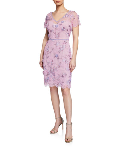Cap-Sleeve Corded Lace & Embroidered Tulle Dress w/ 3D Flowers & Trim