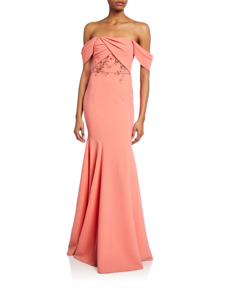 Marchesa Notte Tops OFF-THE-SHOULDER CREPE GOWN W/ DRAPED-BODICE & BEADED EMBROIDERY