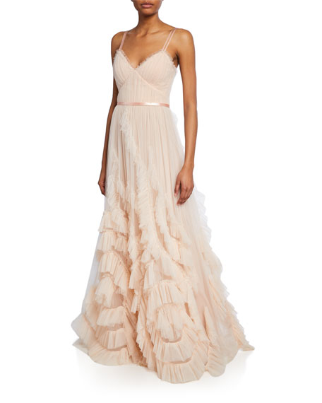 Marchesa Notte Tops V-NECK SLEEVELESS TEXTURED TULLE GOWN W/ CASCADING RUFFLES & LACE
