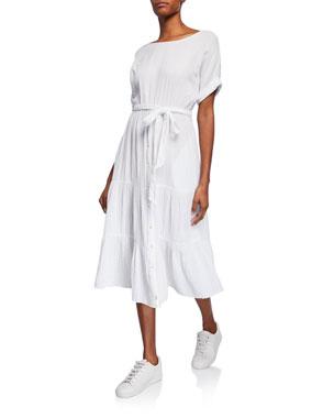 8681459e5a31 Xirena Aeryn Gauze Tiered Tie-Waist Midi Dress