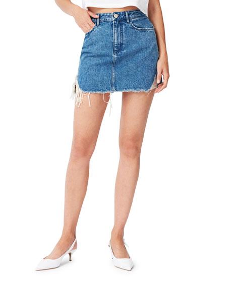 3x1 Skirts CELINE DISTRESSED DENIM MINI SKIRT