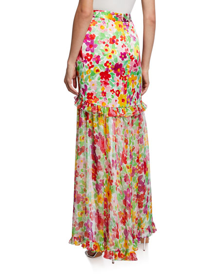 Caroline Constas Adriene Floral High-Low Skirt
