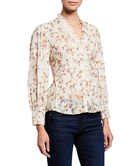 Rebecca Taylor Tops KYLA FLEUR RUFFLE PRINTED BUTTON-FRONT TOP