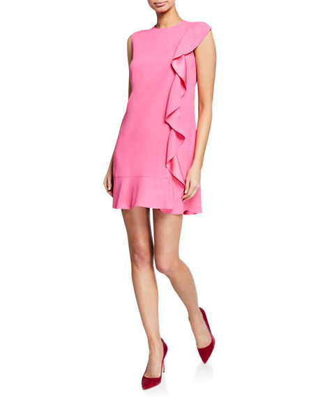 REDValentino Sleeveless Mini Crepe Dress with Satin-Back Ruffle