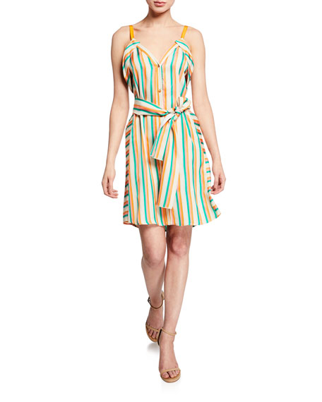 Pinko Dresses ANDREINA STRIPED BUTTON-FRONT DRESS