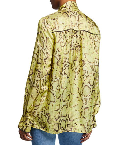 Clarissa Snake-Print Tie-Front Blouse