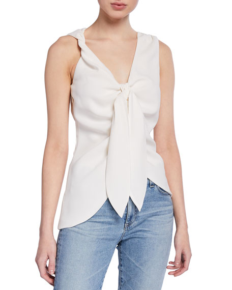 Pinko Tops FRANCA TWO-TONE TIE-FRONT SLEEVELESS TOP