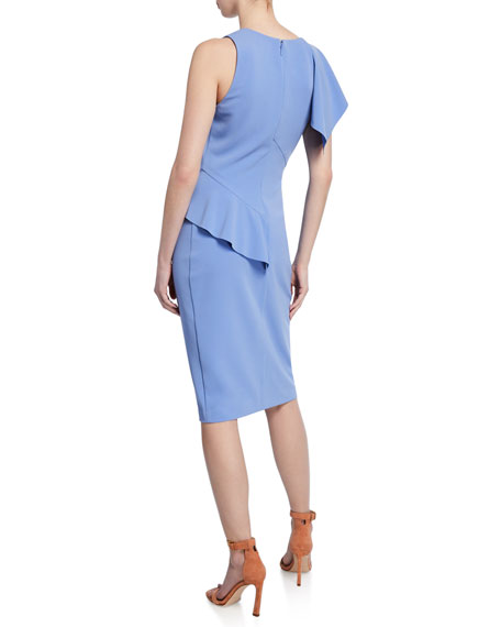 Parker Black Shara Asymmetric Ruffle Cocktail Dress