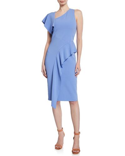 Shara Asymmetric Ruffle Cocktail Dress