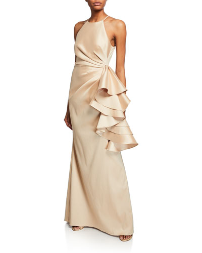 Mikado Shirred-Bodice Side-Ruffle Halter Gown