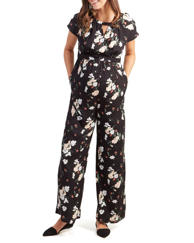 Maternity Floral-Print Adjustable-Waist Short-Sleeve Jumpsuit