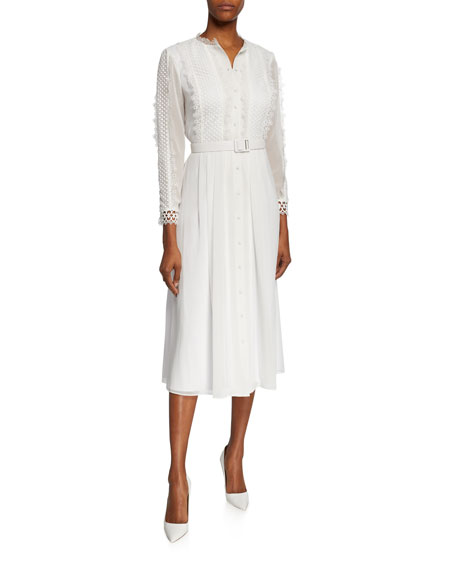 Badgley Mischka Dresses BUTTON-FRONT 3/4-SLEEVE BELTED SHIRTDRESS W/ LACE