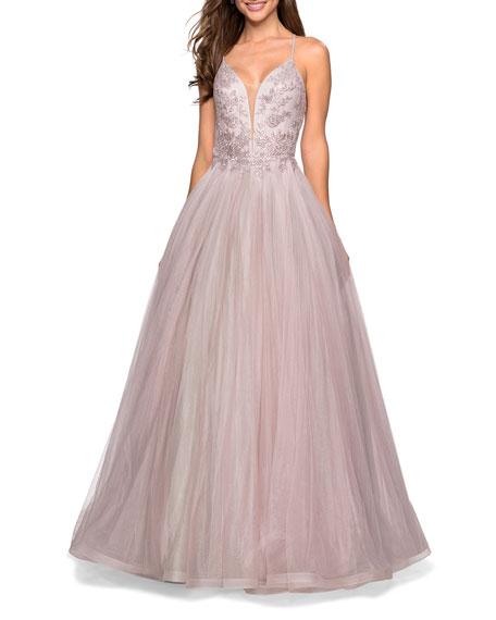 La Femme Dresses Seventeen Lace-Bodice Ballgown