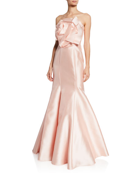 Badgley Mischka Tops STRAPLESS MIKADO MERMAID GOWN W/ ORIGAMI FLOWER DETAIL