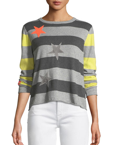 Plus Size Lucky Star Striped Cotton Sweater