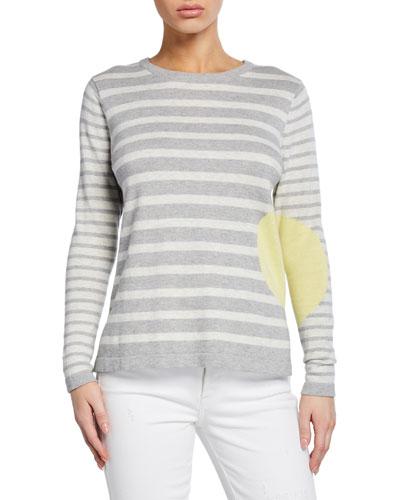 Plus Size Striped Dot Long-Sleeve Cotton Sweater