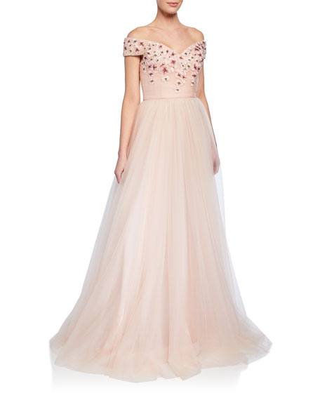 Badgley Mischka Dresses OFF-THE-SHOULDER SHORT-SLEEVE TULLE BALL GOWN W/ FLORAL APPLIQUES