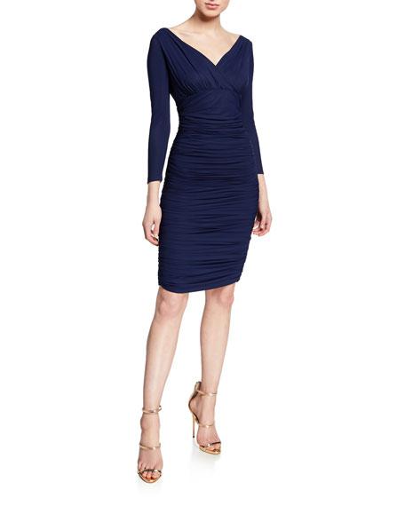 Chiara Boni La Petite Robe Dresses V-NECK 3/4-SLEEVE RUCHED COCKTAIL DRESS