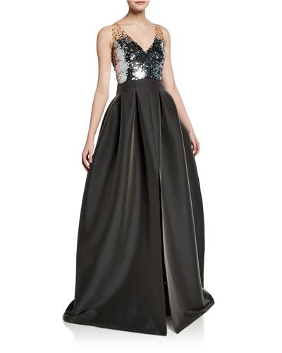 Elle Sequin-Embellished V-Neck Sleeveless Ball Gown