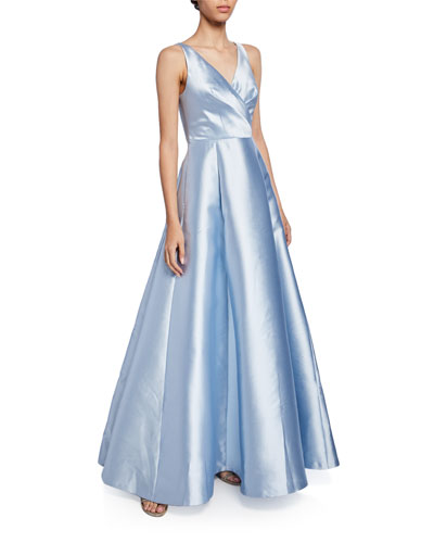 Rae Crossover Fit-&-Flare Ball Gown