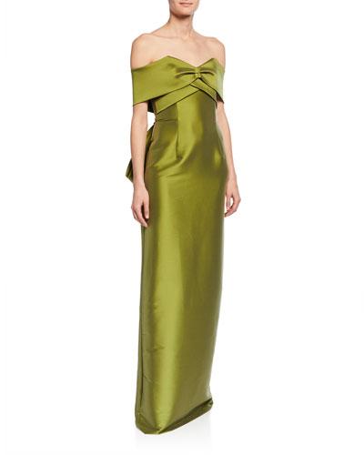 Jennifer Off-the-Shoulder Sweetheart Short-Sleeve Column Gown