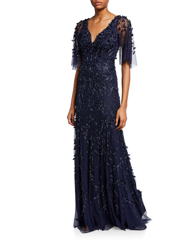 Beaded V-Neck Half-Sleeve Gown