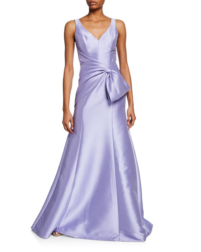 V-Neck Sleeveless A-Line Gown w/ Bow & Wrapped Bodice