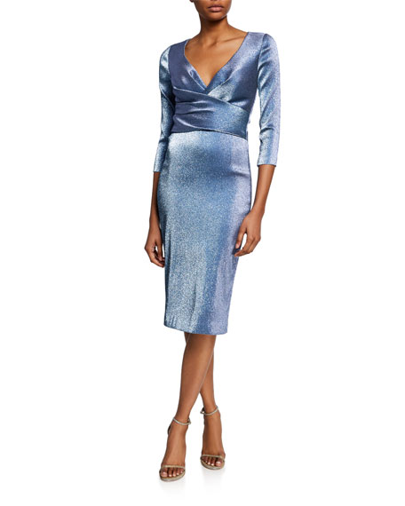 Theia Dresses METALLIC V-NECK 3/4-SLEEVE COCKTAIL DRESS