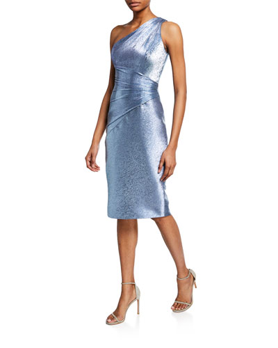Metallic One-Shoulder Cocktail Dress with Ruching