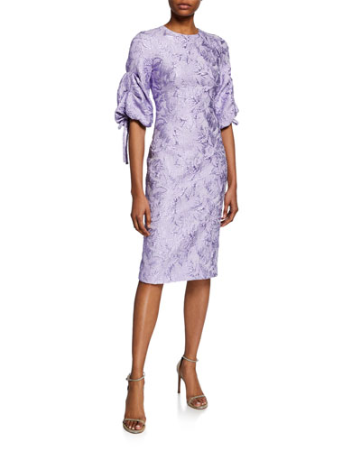 Ruched-Sleeve Cloque Cocktail Dress