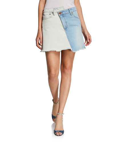 Amazing Two-Tone High-Rise Denim Skirt