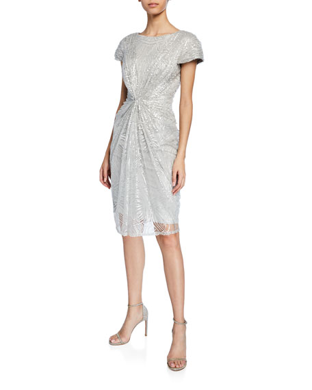 Tadashi Shoji Dresses SEQUINED-LACE SHORT-SLEEVE COCKTAIL DRESS