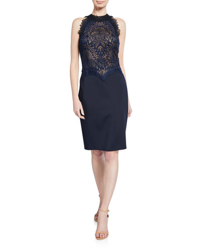 Lace & Neoprene Halter Dress