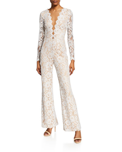 Floral-Lace V-Neck Illusion Long-Sleeve Jumpsuit