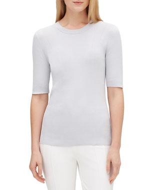 5fd1bafa6e Lafayette 148 New York Elbow-Sleeve Skinny Rib Sweater