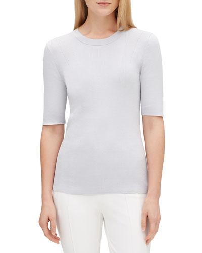 Elbow-Sleeve Skinny Rib Sweater