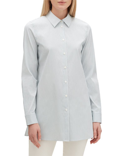 Quintin Centre Stripe Button-Down Long-Sleeve Blouse