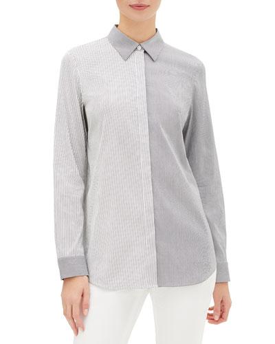 Brody Metropolitan Stripe Button-Down Blouse