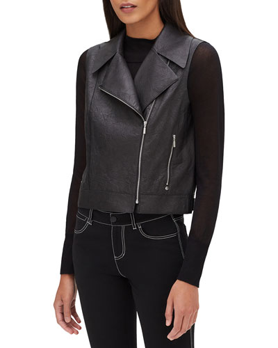 Stevie Zip-Front Weathered Lambskin Leather Vest