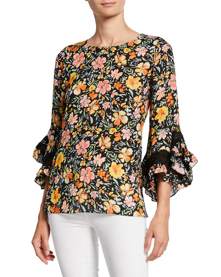 Kobi Halperin Sloane Floral-Print Ruffle-Sleeve Silk Blouse