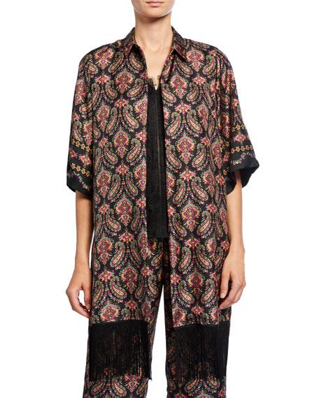 Kobi Halperin Jaycee Paisley Silk Shirt Jacket with Fringe Trim