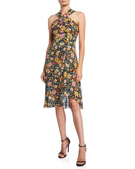 Kobi Halperin Steph Floral Silk Halter Dress