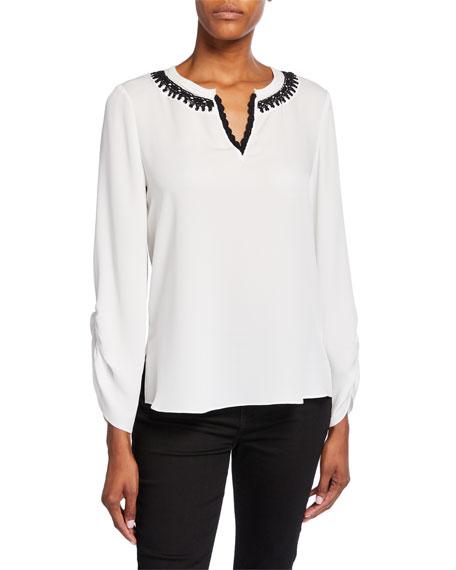 Kobi Halperin Geri Long-Sleeve V-Neck Silk Blouse